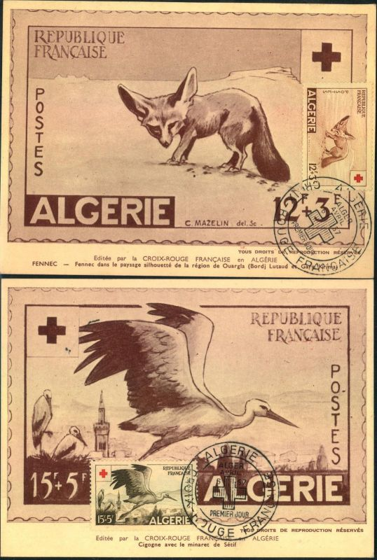 1957, CROIX ROUGE; RED CROSS; ROTES KREUZ - Algerien, fox, Fuchs, Renard, stork, Storch, Cigne - Maxi card