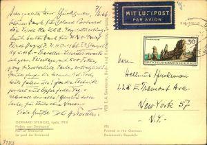 1966, 30 Pfg. Landschaftsschutz als seltene EF auf Luftpostkarte nach New York.