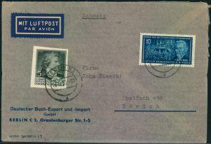 1956, Luftostbrief in die Schweiz mit 5 Pfg. Schiller aus Block 12, 10 Pfg. Bebel und rückseitig Ausschnitt aus Block 12