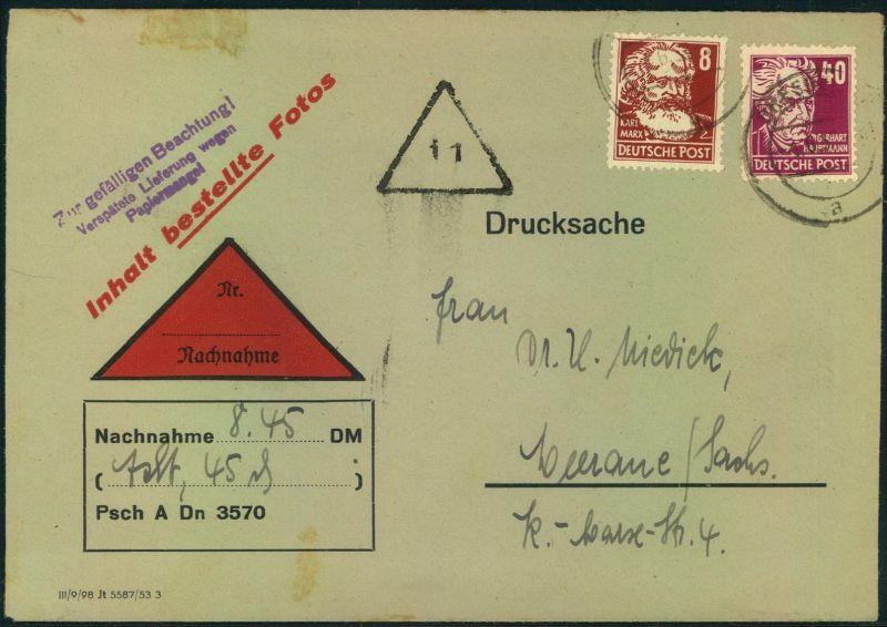1954, 8 und 40 Pfg. Köpfe II auf Nachnahme-Drucksache bis 50 g ab DRESDEN: seltenere Portostufe.