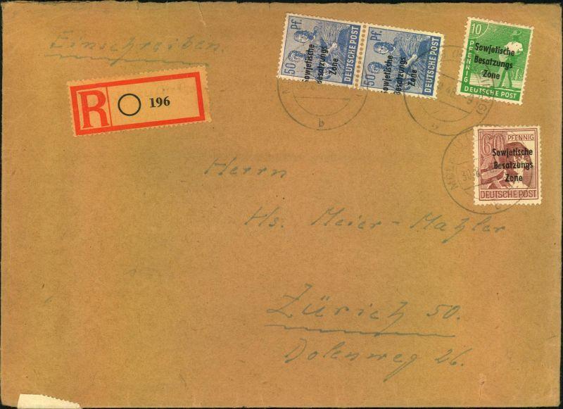 1949, portogerechtes Einschreiben 41-60 Gramm ab