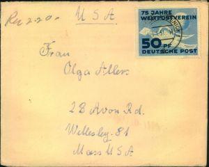 1951, 50 Jahre UPU als EF auf Brief ab BERLIN-KÖPENICK 1 - 15.1.51 nach USA.
