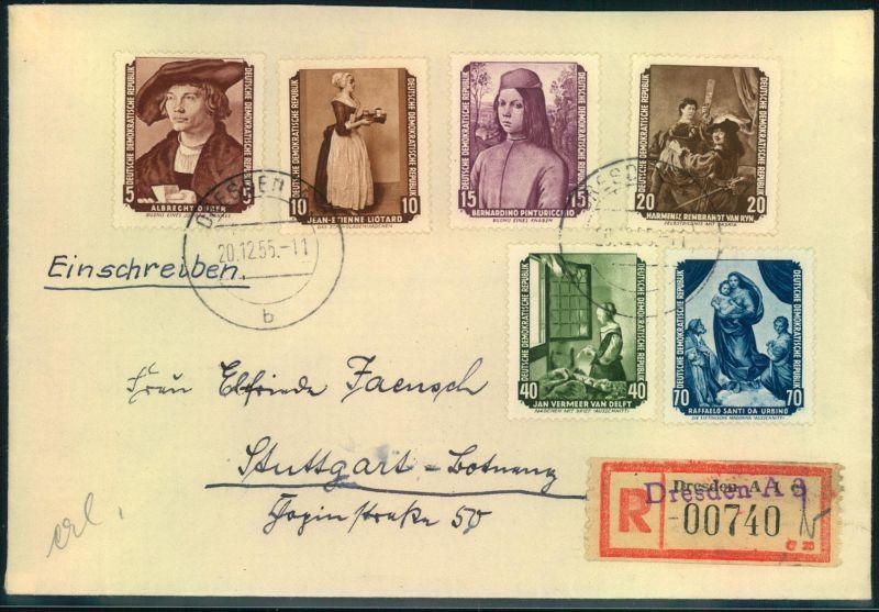 1955, Sowjetische Kunst, Sammler-R-Brief ab DRESDEN A 8