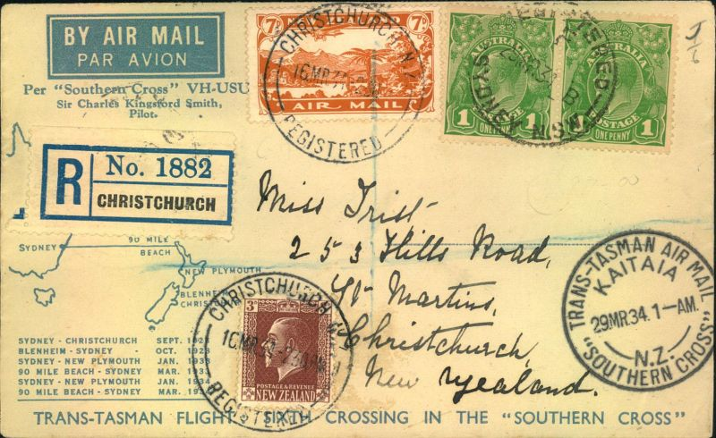 1934, TRANS-TASMAN AIR MAIL KAITAIA registered from Christchurch to Sydney.