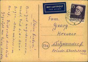 1953, Luftpostkarte ab BERLIN-SPANDAU frankiert mit 15 Pfg. Virchow nach Schwandorf. Michel 220,-