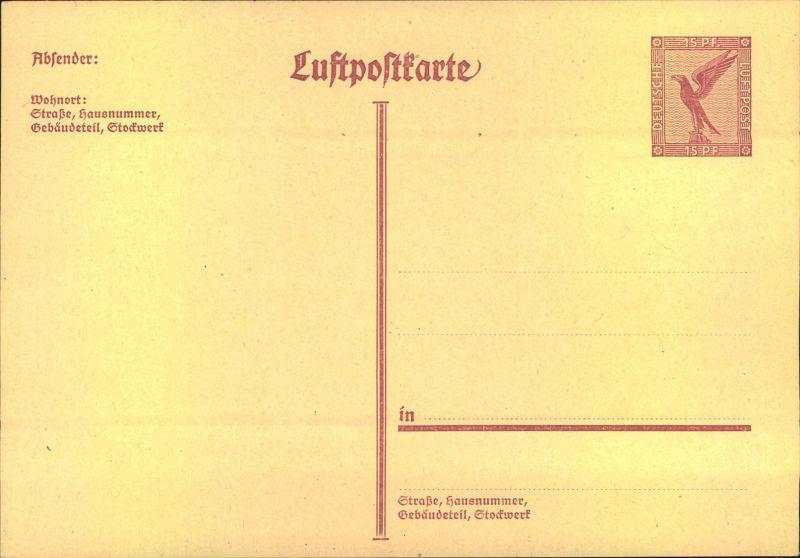 1927, 15 Pfg Luftpostkarte mit 4-zeiligem Absendervermerk. Sauber ungebraucht.