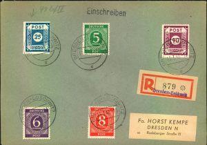 1946, 25 Pfg. und 40 Pfg. Ziffer je mit Postmeistertrennung Loschwitz mit Zusatzfrankatur auf
