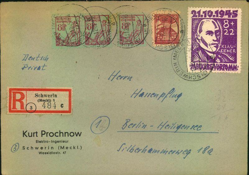 1945, Einschreiben mit 8 Pfg. Thämann und angegebener Zusatzfrankatur auf R-Brief ab SCHWERIN 13.12.45 nach Berlin.
