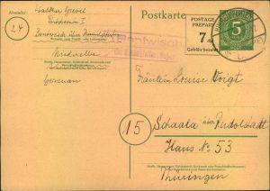 1946, 5 Pfg. Ganzsachenkarte mit Zudruck
