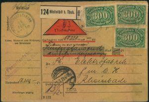 1923, frankierte komplette Paketkarte mit insgesamt 12 Marken, davon 3-mal 300 M Querformat vorder- und rückseitig ab HÖ