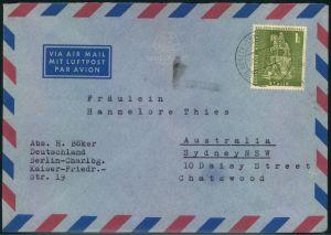 1958, 1 DM Großer Kurfürst als EF auf Luftpostbrief von BERLIN-CHARLOTTENBURG 5 nach Australien.