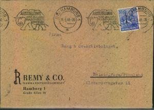 1946, Auslandsbrief mit Werbestempel ELEFANT