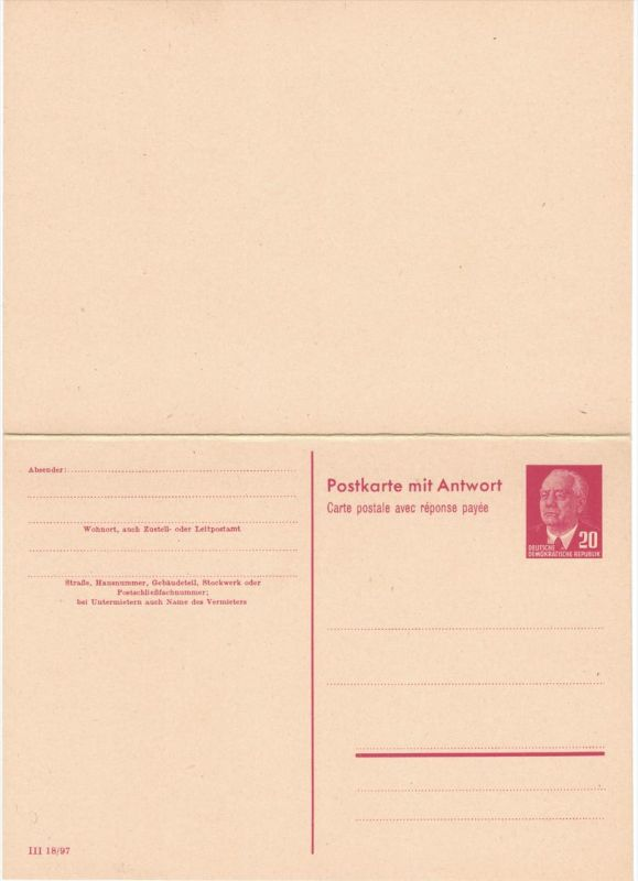 Doppelkarte 20 Pfg. Pieck mit deutscher und französischer Überschrift. Sauber ungebraucht.
