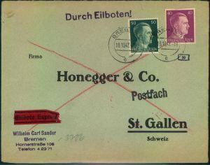 1942, Eilbrief 2. Gewichtsstufe mit 40 und 50 Pfg. Hitler ab BREMEN in die Schweiz. OKW Zensur.