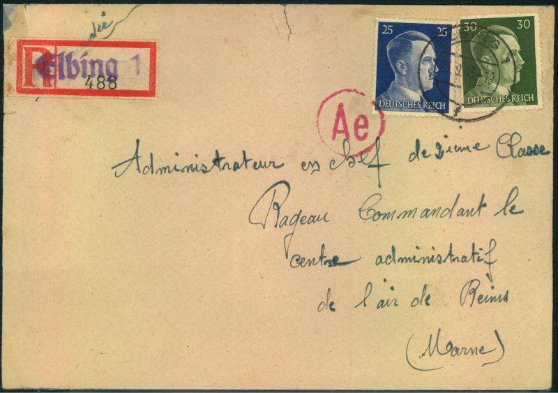 1943, Einschreiben von französichem Zwangsarbeiter in ELBING. Umschlag kleiner Einriss oben.