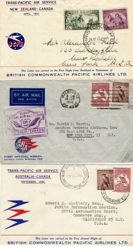 1946/1947, Trans-Pacific Air Service, three covers Australia/New Zealand - Canada - airmail