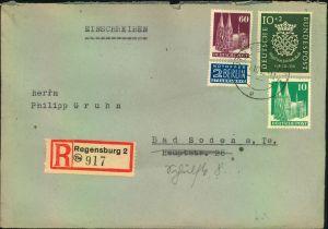 1950, 10 Pfg. Bachsiegel mit Bauten Zusatzfrankatur auf Einschreiben ab REGENSBURG.