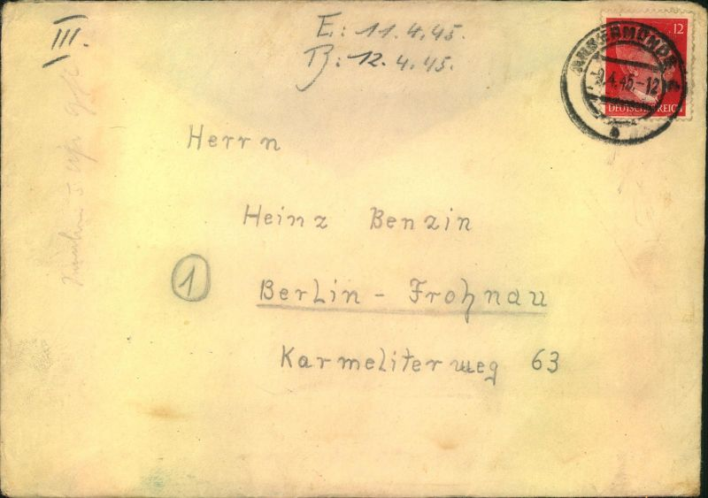 1945, später Brief aus dem R.A.D. Lager Göritz Kr. Prenzlau mit Tagesstempel NGERMÜNDE 9.4.45 nach Berlin mit interessan