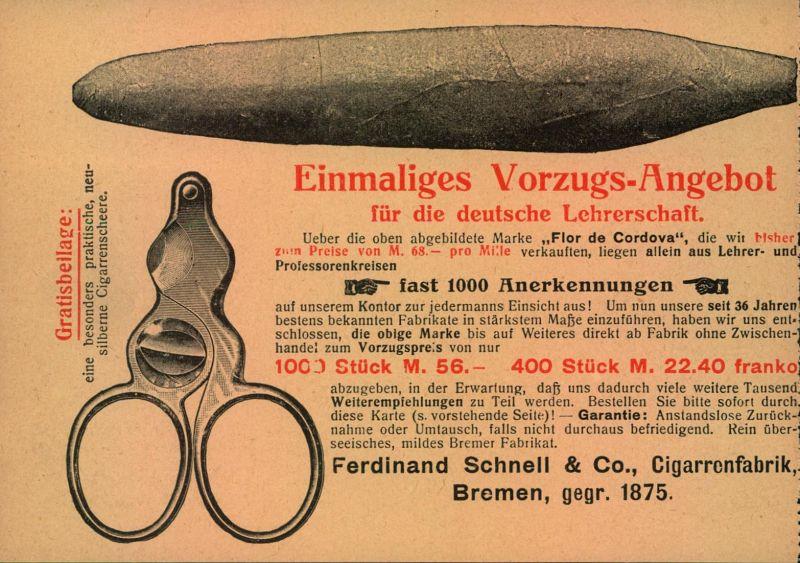 1920er, Werbekarte, advertisment card , cigars, Zigarren, tobacco, Tabak