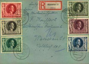 1943, 54. Geburtstag Hitlers komplett auf R-Brief (Michel 844/849)