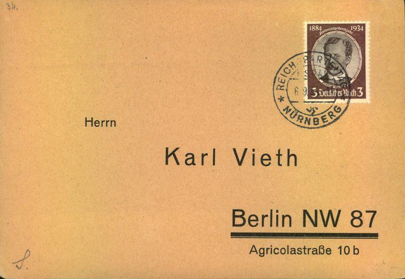 1934, 3 Pfg. Kolonialforscher auf blanko Drucksachenkarte mit SSt Reichsparteitag Nürnberg