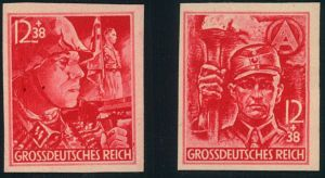 1945, SA/SS (Michelnummer 909/910) geschnitten, imperforated