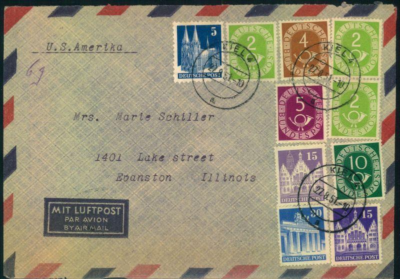 1951, Luftpostbrief mit 4 Bauten- und 6 Posthornmarken ab KIEL 27.8.51 nach USA.