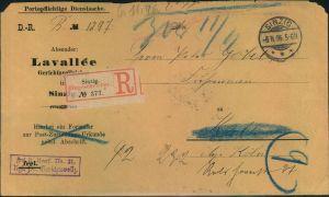1896, portopflichtige Dienstsache per Einschreiben, SINZIG