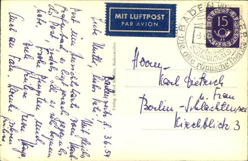 1954, Luftpostkarte mit EF 15 Pfg. Posthorn ab BADENWEILER nach Berlin. (100,- ME)