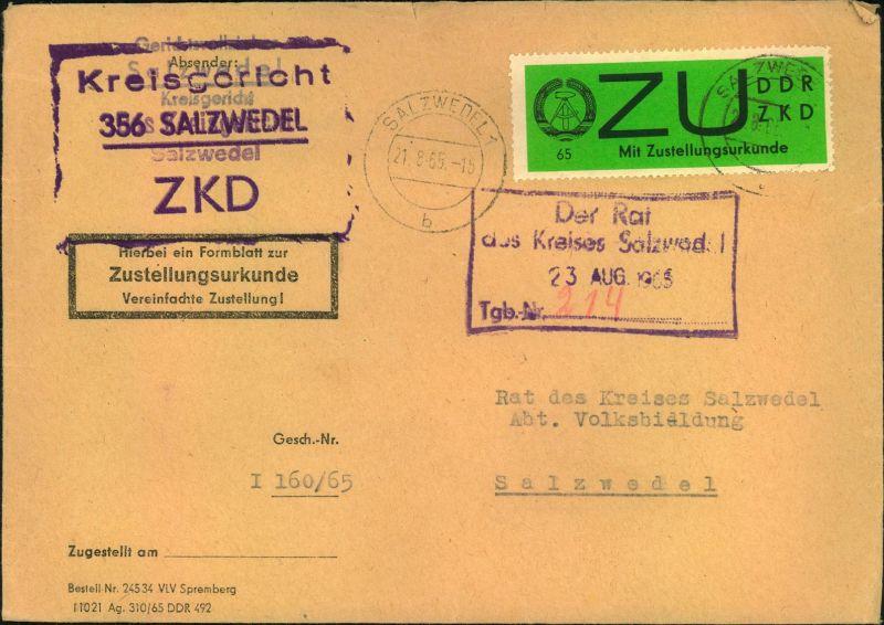 1965, Zustellungsurkunde mit 65 Pfg. Zulassungsmarke