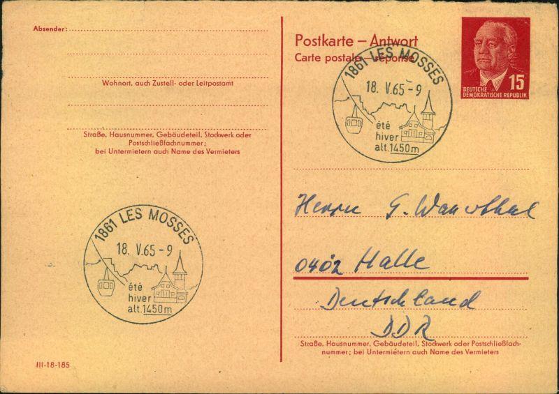 1965, 15 Pfg.Pieck Antwortkarte blanko mit SSt LES MOSSES, Frankreich.