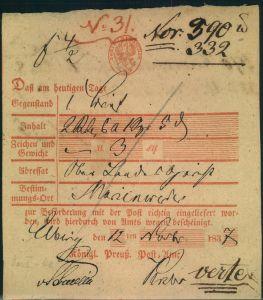 1837, Postschein von ELBING für einen Brief nach Marienwerder.