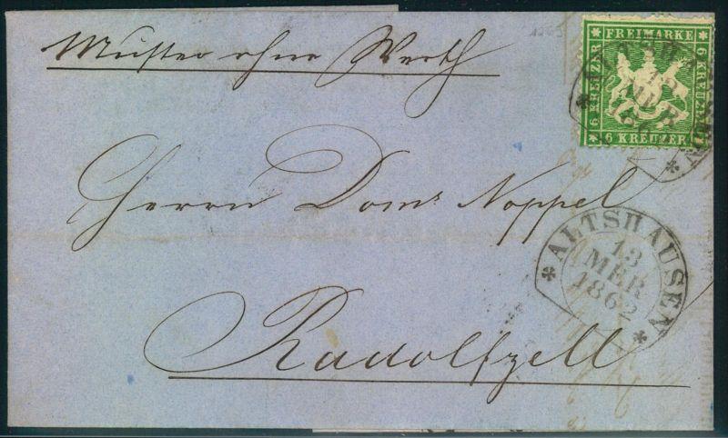 1862, Muster ohne Wert mit 6 Kreuzer grünolivWappen gezähnt mit Steigbügelstempel ALTSHAUSEN nach Rudolfszell. Zähnung d