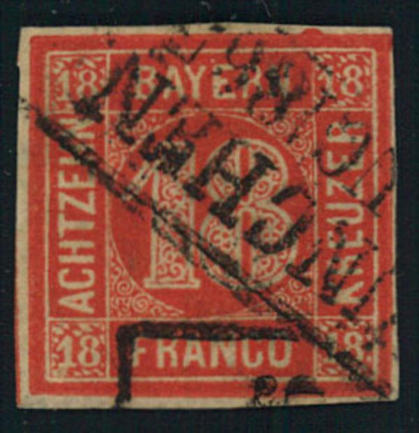 1862, 18 Kreuzer zinnoberrot mit Ortsstempel MÜNCHEN.