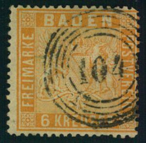 1860, 6 Kreuzer lachsrot mit Nummernstempel