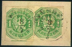 1867, 1 Kreuzer Wappen im waagerechten Paar sauber gestempelt auf Briefstück.
