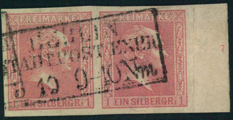 1858, 1 Sgr. Geitterter Grund im waagerechten Paar mit Randziffer