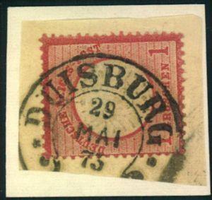 1873, DUISBURG, 1 Groschen gr. Schild auf Briefstück mit Hufeisenstempel.