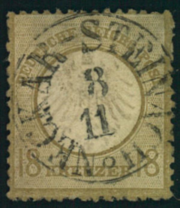 1872, 18 Kreuzer kleiner Brustschild mit zentrischem Th. & T.-Stempel NECKAR-STEINACH: Pracht.