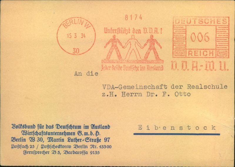 1934, Postkarte mit Absenderfreistempel