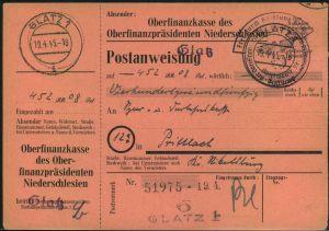 1945, nicht mehr ausgezahlte Postanweisung ab GLATZ 1 - 19.4.45 mit Portofreiheitsstempel