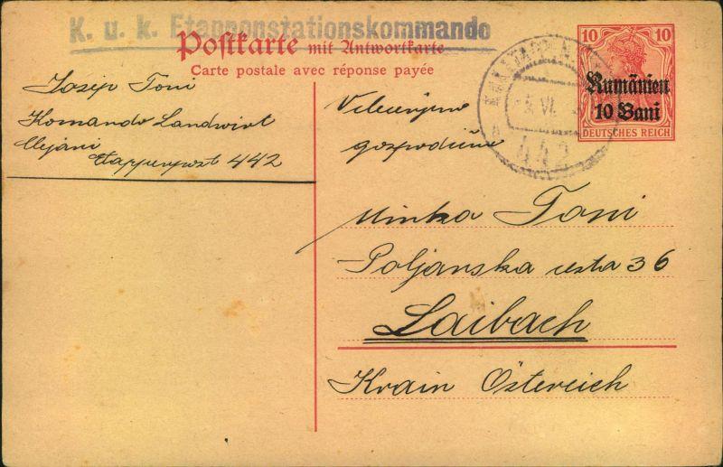 1918, Frageteil der 10 Bani Ganzsachenkarte mit Stempel