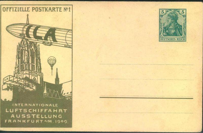 1909, offizielle Postkarte der ILA, rückseitige Abbildung