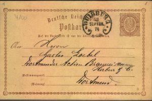 1874, DUISBURG, klar abgeschlagener Hufeisenstempel auf 1/2 Gr. GSK
