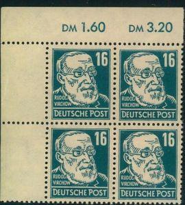 1948, 16 Pfg. Virchow in seltener Farbe grünlichblau im postfrischen Virerblock aus der linken oberen Ecke. Geprüft Paul
