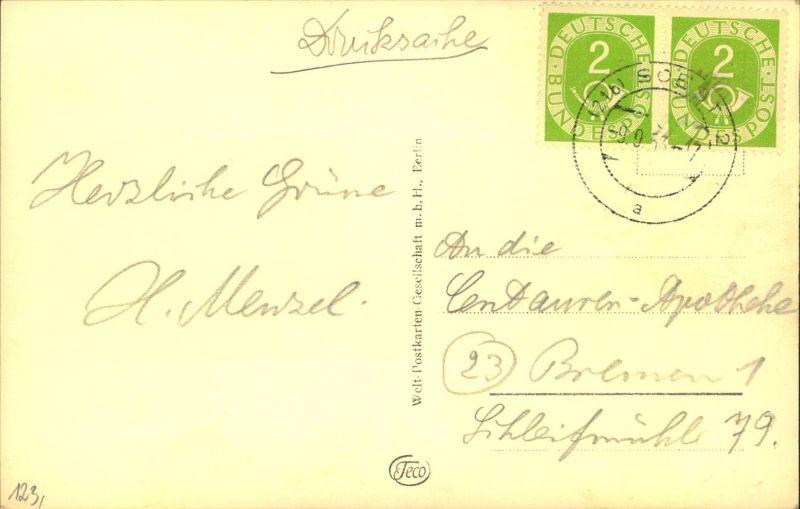 1953, 2 Pfg. Posthorn im waagerechten Paar auf Druckschenkarte ab (21b) SOEST 2