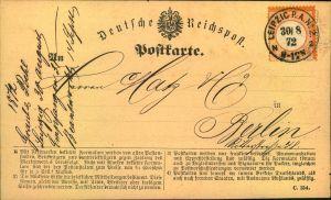 1872, 1/2 Groschen kleiner Brustschild rötlichorange auf Postkarte mit zentrischem Stempel LEIPZIG P.A. No.2