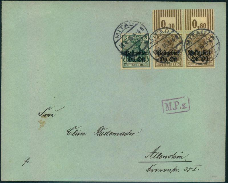 1916, 3 Pfg. Germania vom Walzendruck Oberrand in MiF mit 5 Pfg. auf Fernbrief ab MITAU mir violettem Zensurstempel