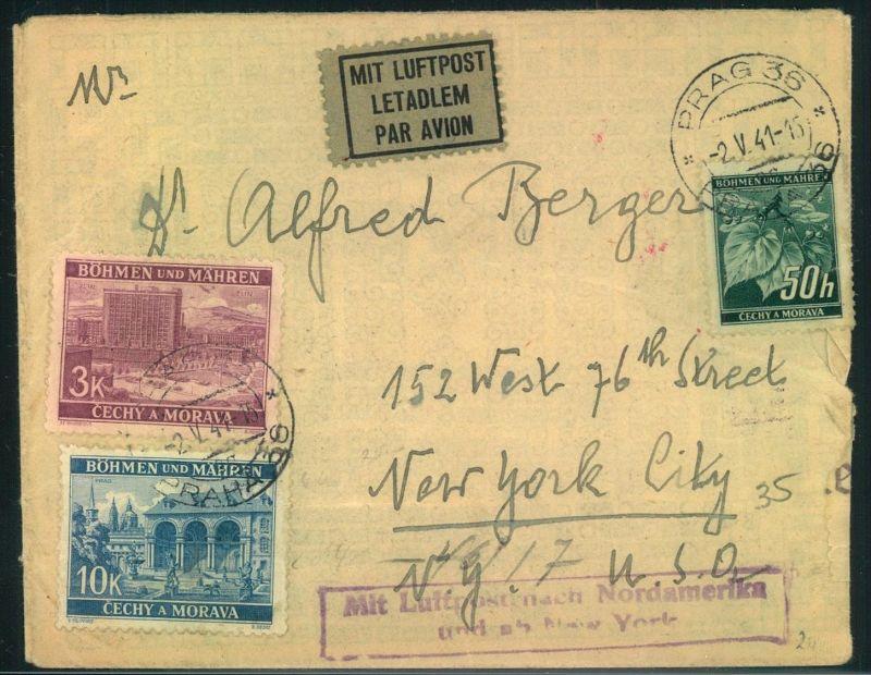 1941, kleiner Luftpostbrief ab PRAG NACH New York City mit blauem Ra2