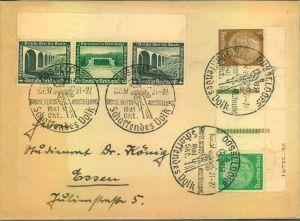 1937, Hindenburg-Zusammendruck 3/Z/Z/5 zusmen mit 6/5/6 WHW auf Umschlag miz SSt